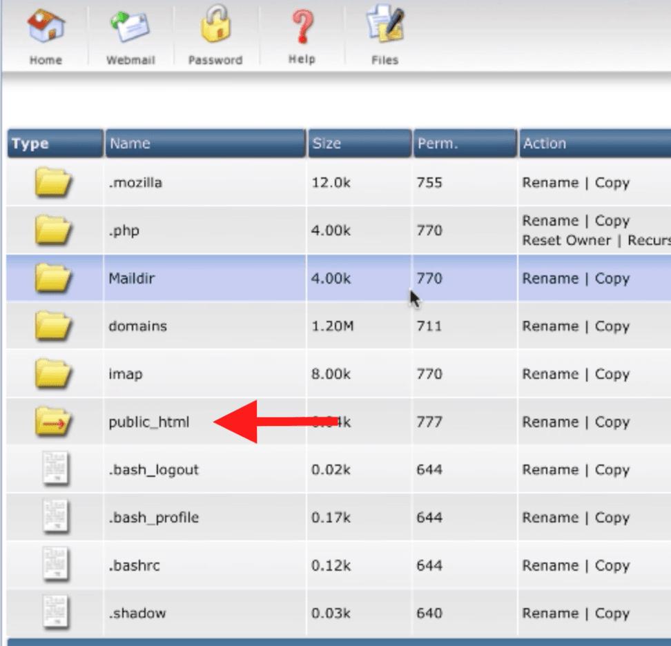 public html در پوشه فایل
