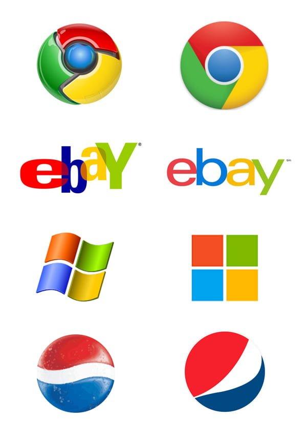flat-vs-realistic-logos