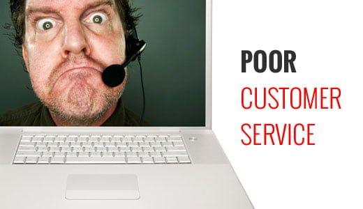 خدمات پشتیبانی از مشتری ضعیف