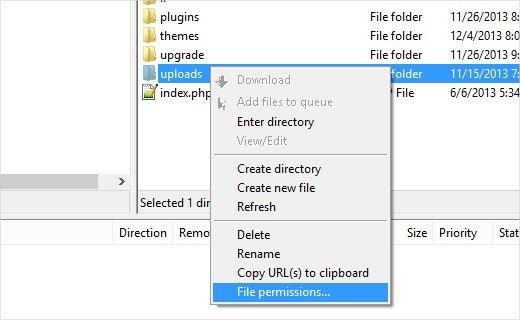 تغییر پرمیشن فایل ها
