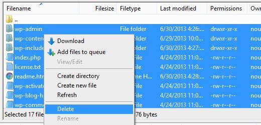 حذف فایل FTP