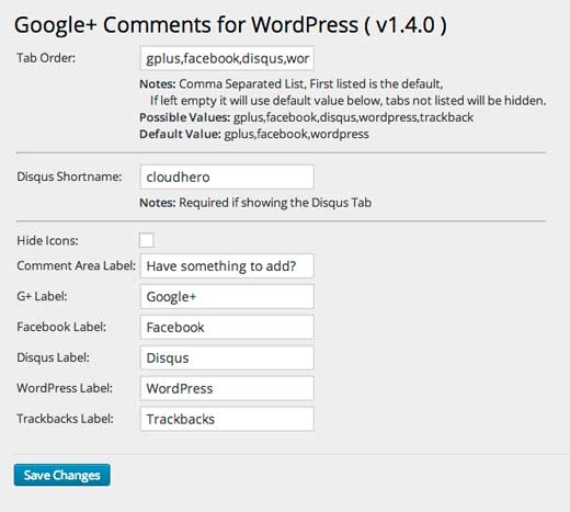 تنظیمات نظرات گوگل پلاس