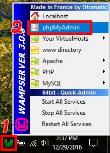 شروع phpmyadmin