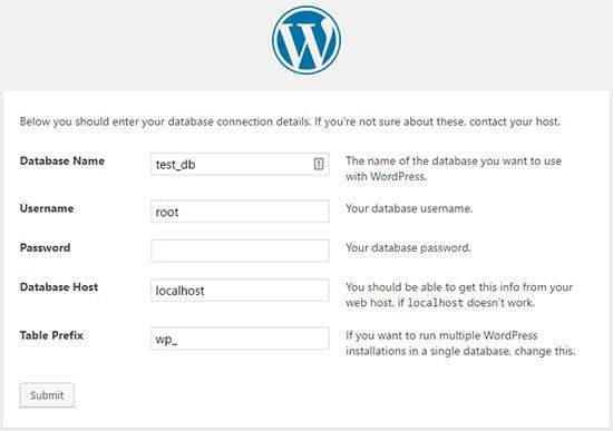 پیکربندی پایگاه داده وردپرس