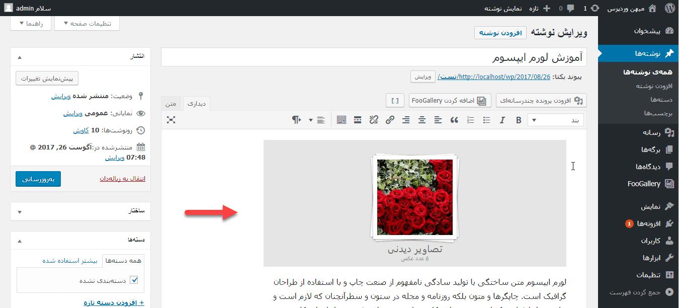 جایگذاری شورت کد در متن ویرایشگری