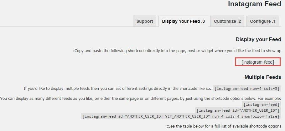 shortcode feed
