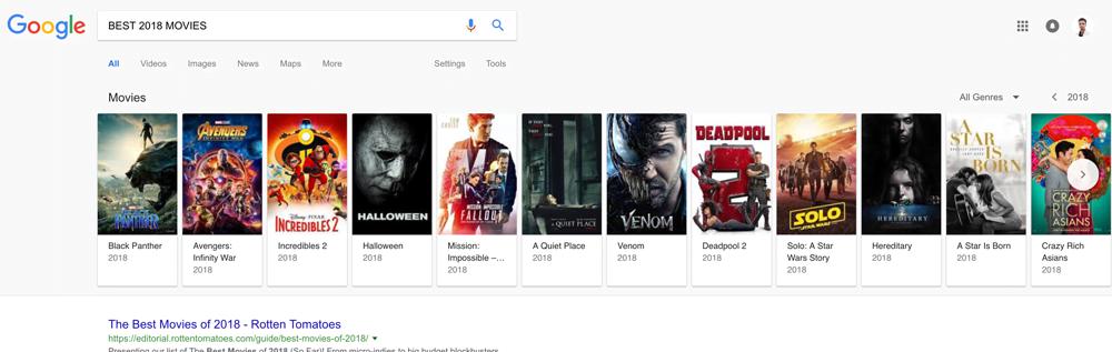 نمایش منظم فیلم در صفحه جستجو