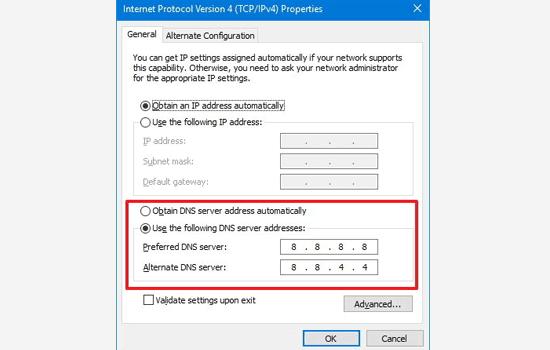 تغییر آدرس سرور DNS