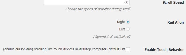 تنظیمات scroll