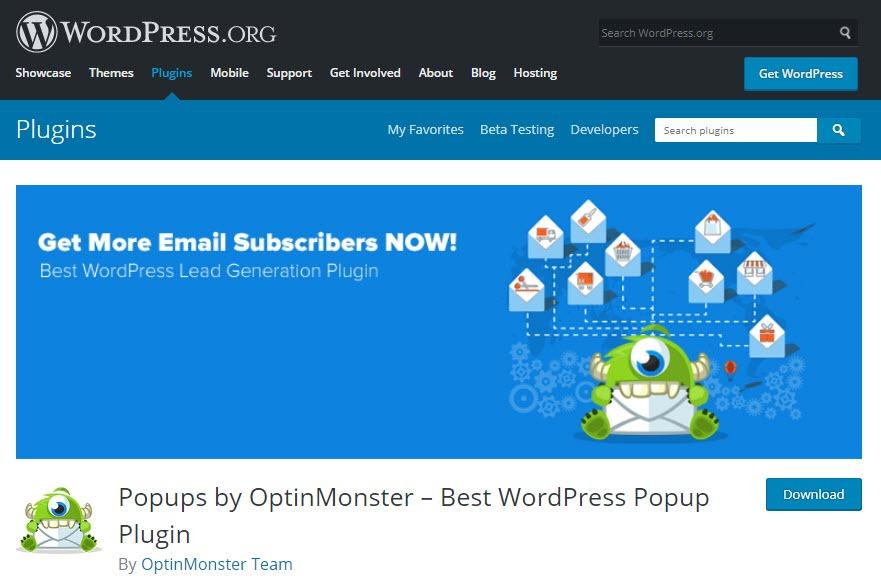 افزونه Download Popups by OptinMonster