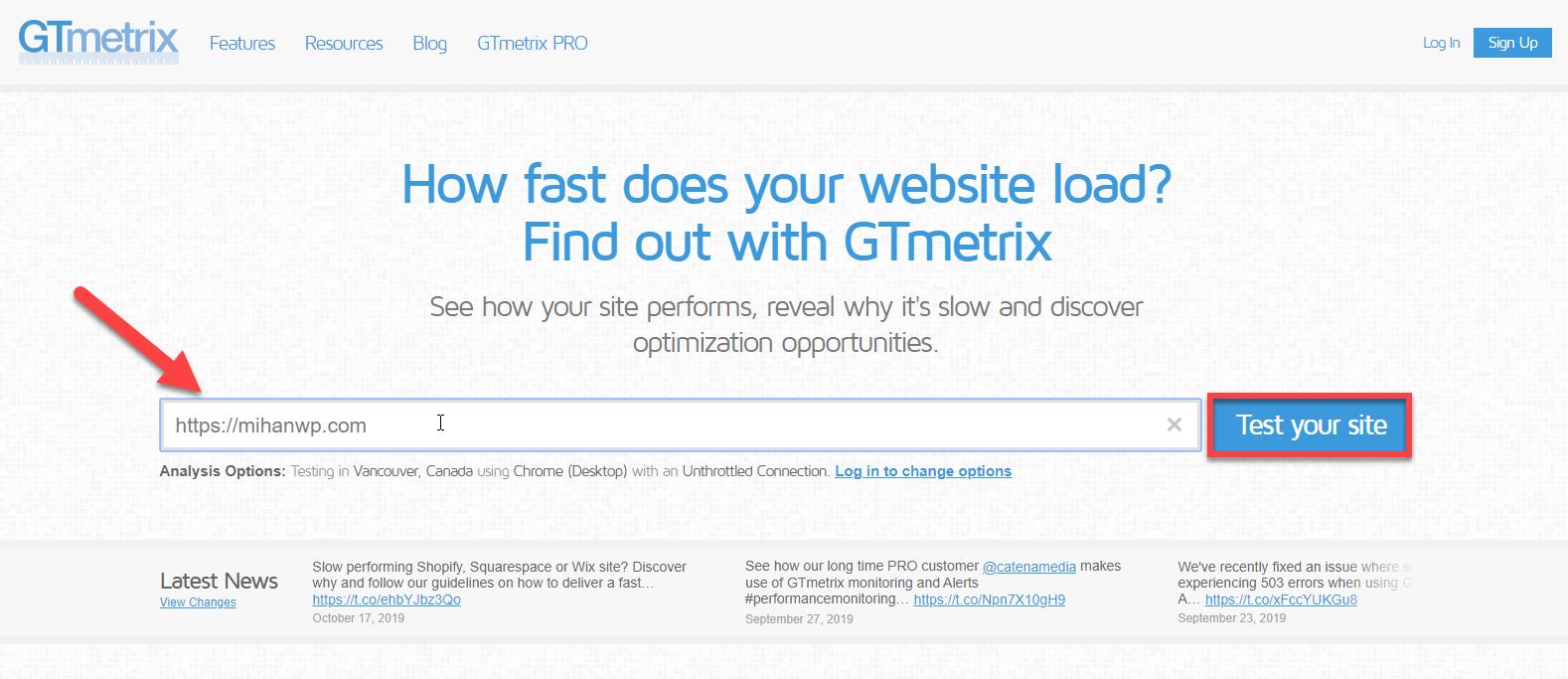 تست سرعت در GTmetrix