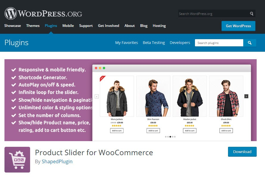 صفحه دانلود پلاگین  Product Slider for WooCommerce