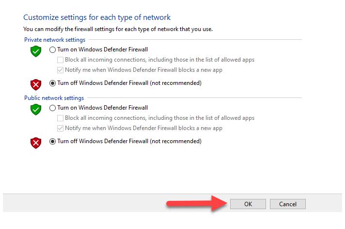 غیرفعال کردن فایروال در ویندوز