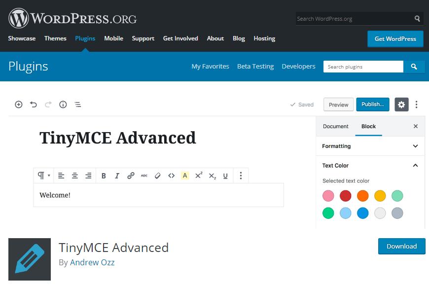 افزونه TinyMCE Advanced plugin