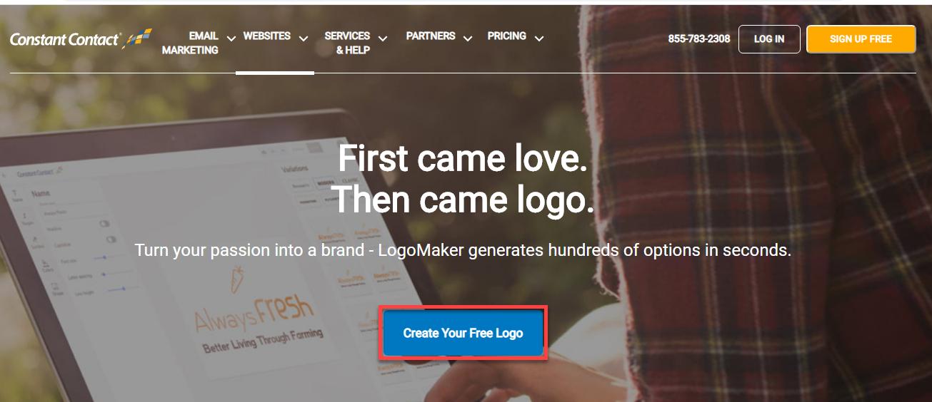 ابزار رایگان Constant Contact's Logo Maker