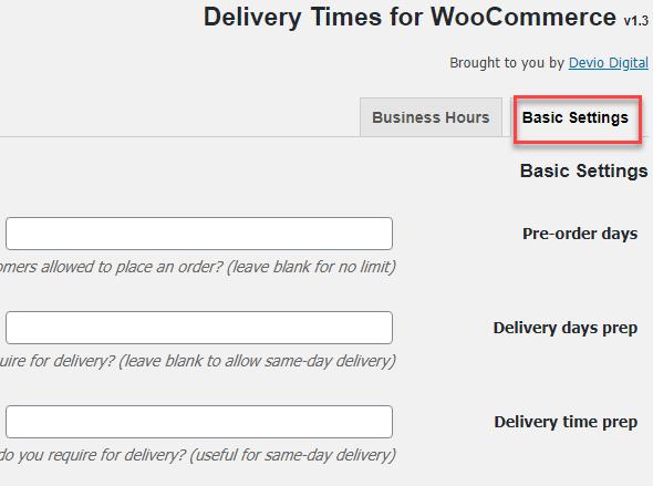 تنظیمات افزونه Basic Settings