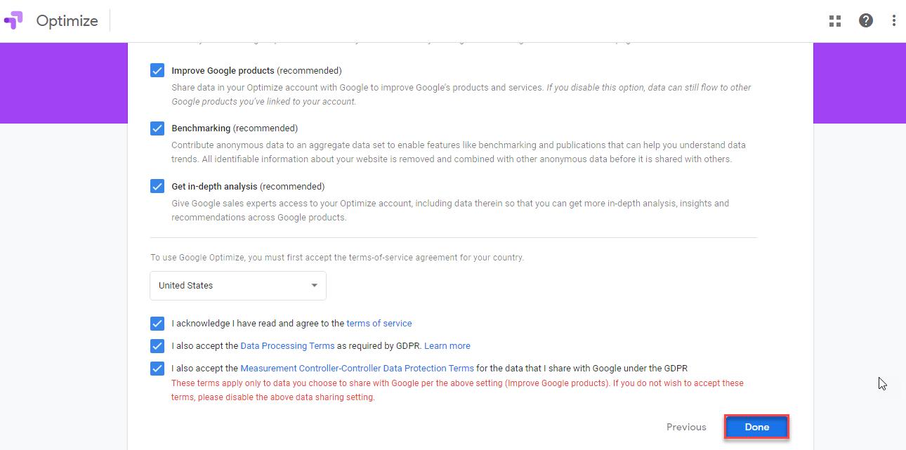 اطلاعات حساب کاربری Google Optimize
