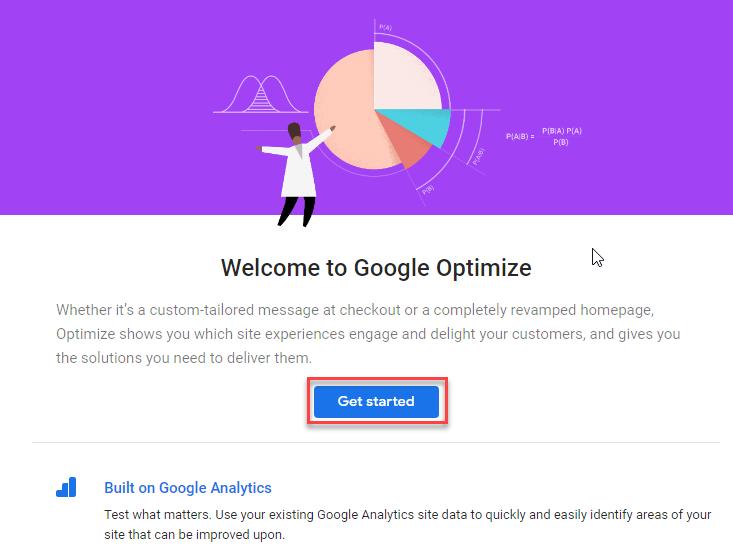 تنظیمات حساب کاربری Google Optimize
