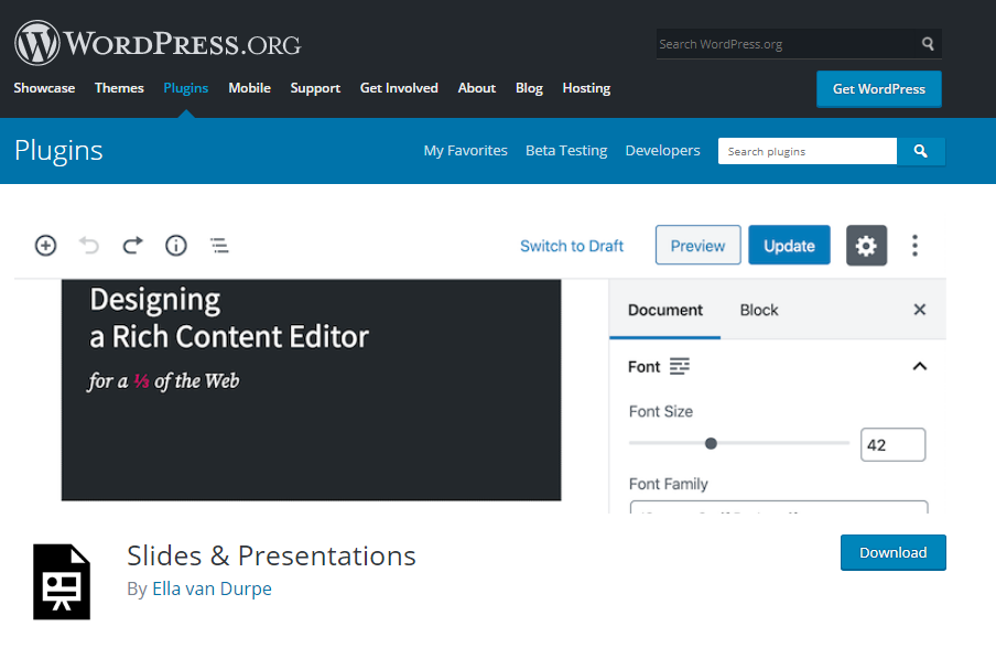 صفحه افزونه Slides & Presentations