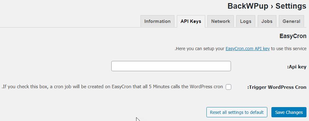 قسمت API Keys در تنظیمات پلاگین BackWPup