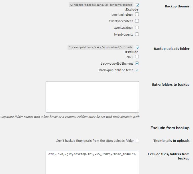 قسمت Backup themes در پلاگین BackWPup