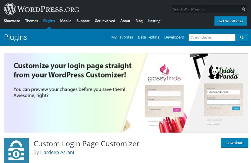 افزونه Custom Login Page Customizer