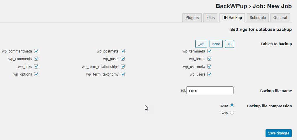 قسمت DB Backup در پلاگین BackWPup