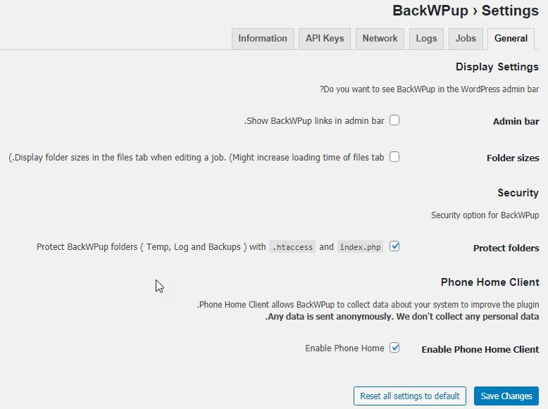 قسمت عمومی در تنظیمات پلاگین BackWPup