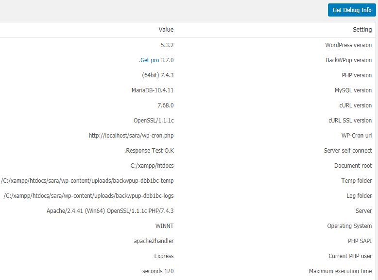 قسمت Information در تنظیمات پلاگین BackWPup