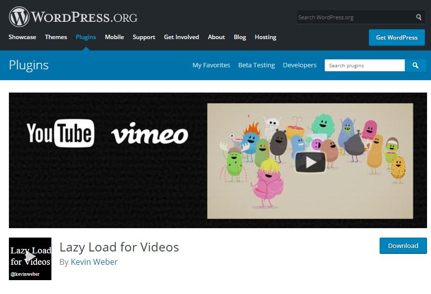 پلاگین Lazy Load for Videos