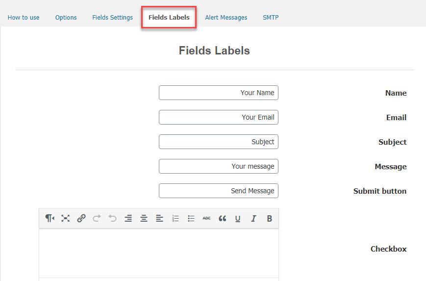 بررسی تب Fields Labels