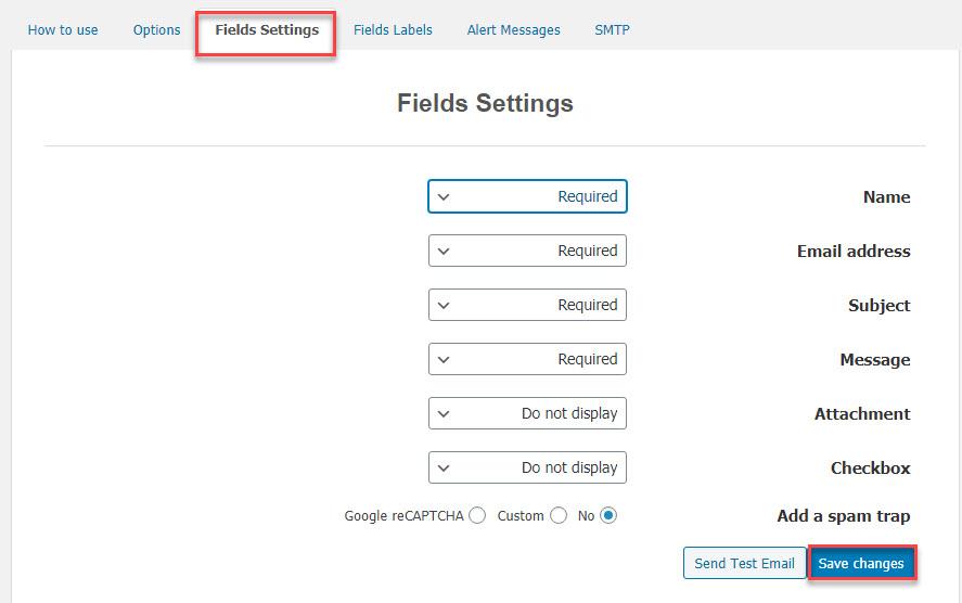 بررسی تب Fields Settings