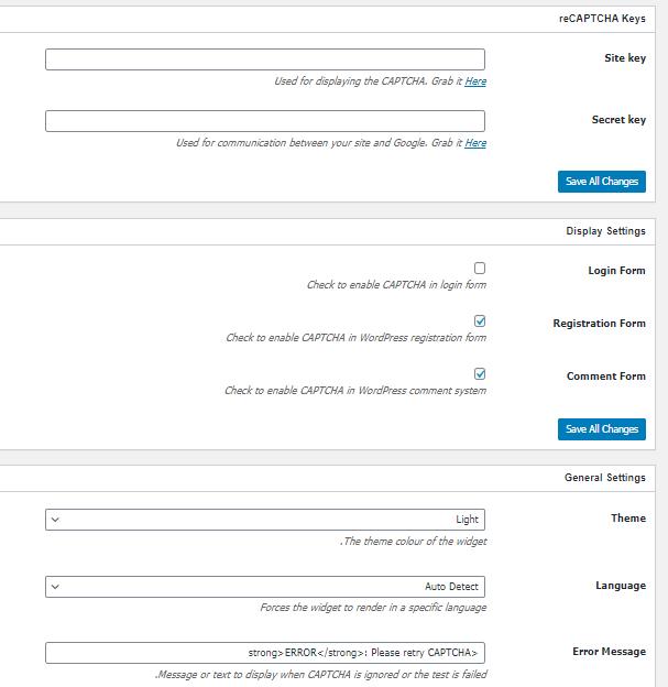 Plugin settings No CAPTCHA reCAPTCHA