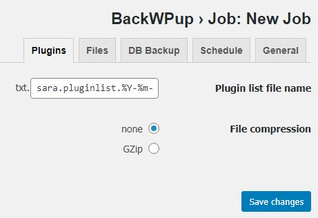 قسمت Plugins در پلاگین BackWPup
