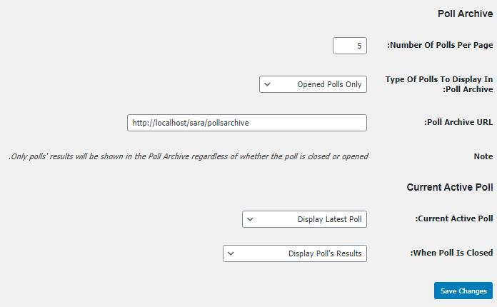 قسمت Poll Archive در افزونه wp-polls