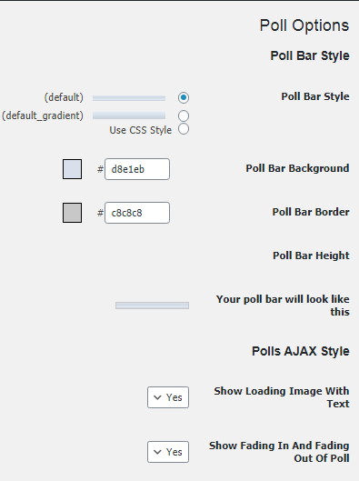 Poll Bar Style section in the wp polls plugin