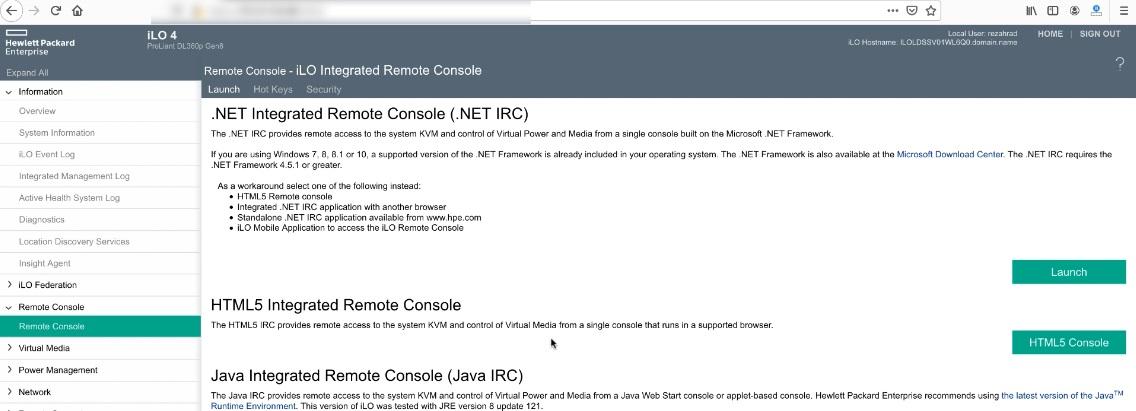 بخش Remote Console