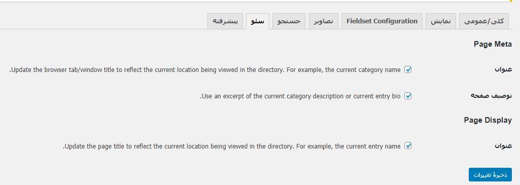 تنظیمات سئو در پلاگین Business Directory