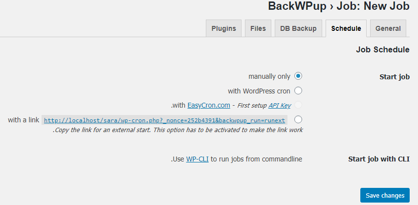 قسمت Schedule در پلاگین BackWPup