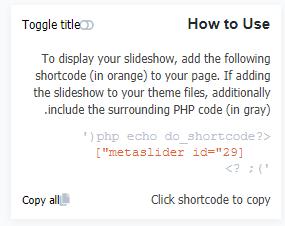 نمایش کد php در افزونه Meta Slider