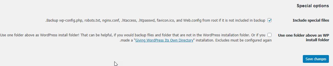قسمت Special options در پلاگین BackWPup