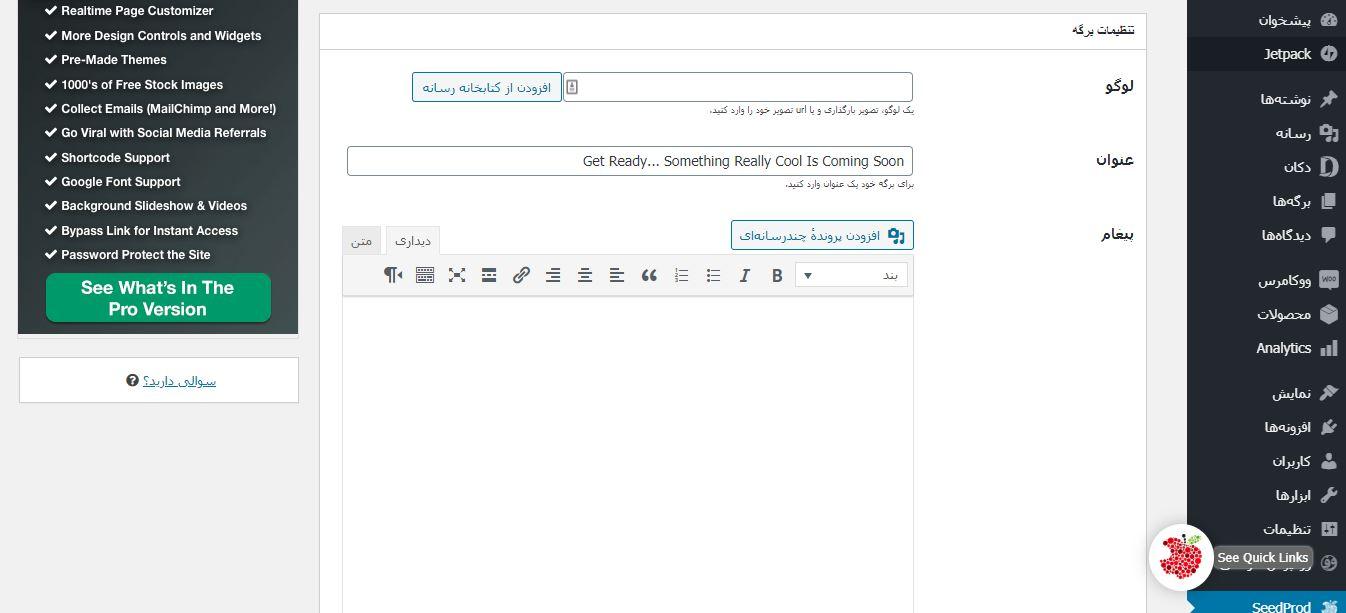 تنظیمات برگه در افزونه SeedProd