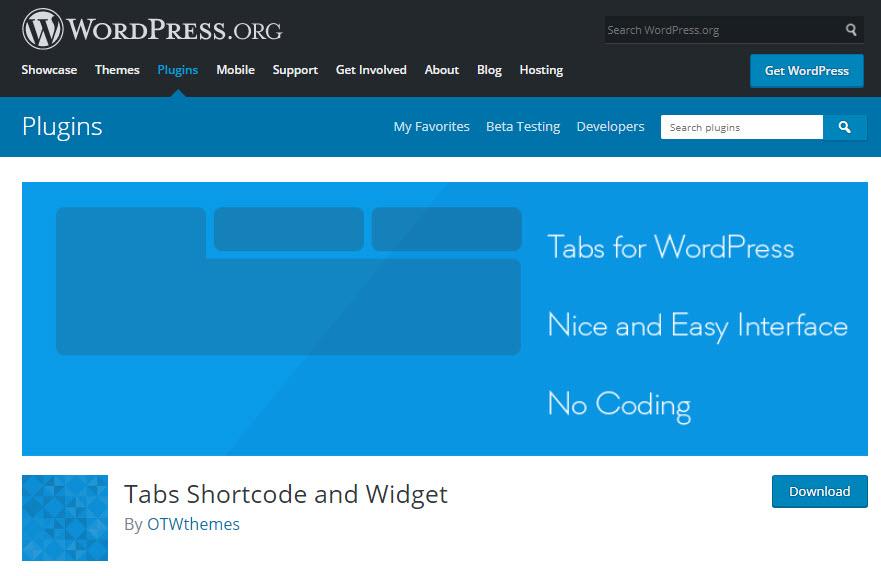 معرفی افزونه Tabs Shortcode and Widget