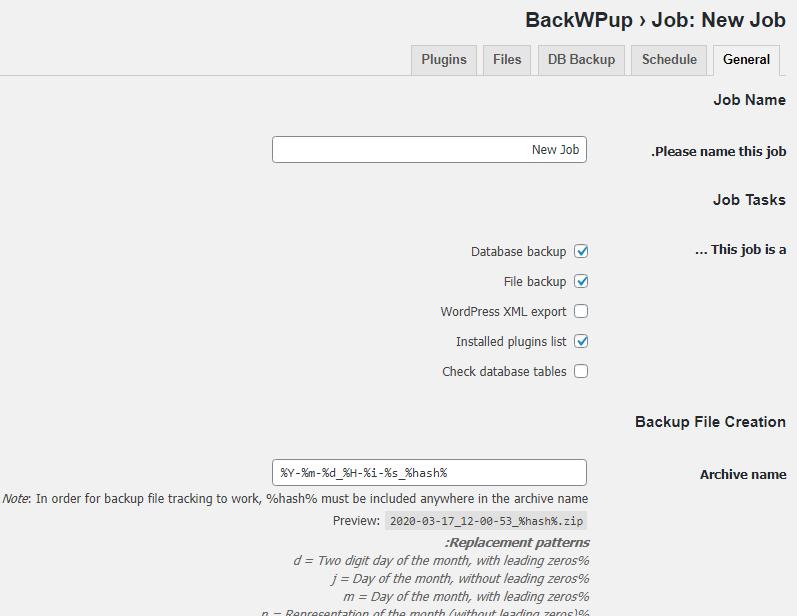 قسمت Job Name در پلاگین BackWPup
