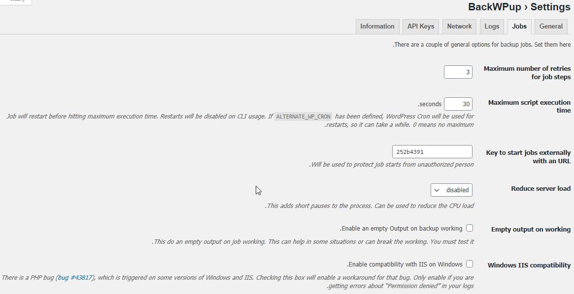 قسمت Jobs در تنظیمات پلاگین BackWPup