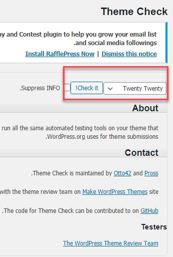 تنظیمات افزونه Theme Check