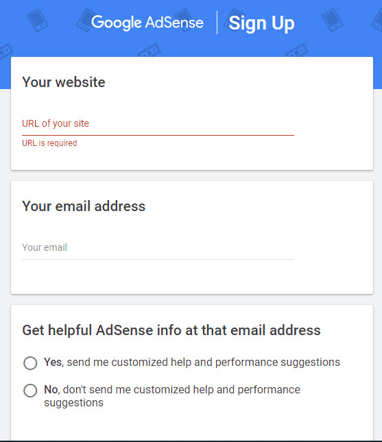 وارد کردن اطلاعات وبسایت در Google AdSense