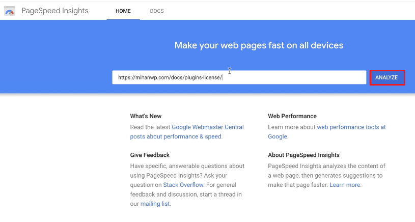 بررسی عملکرد سایت توسط Page speed Insights