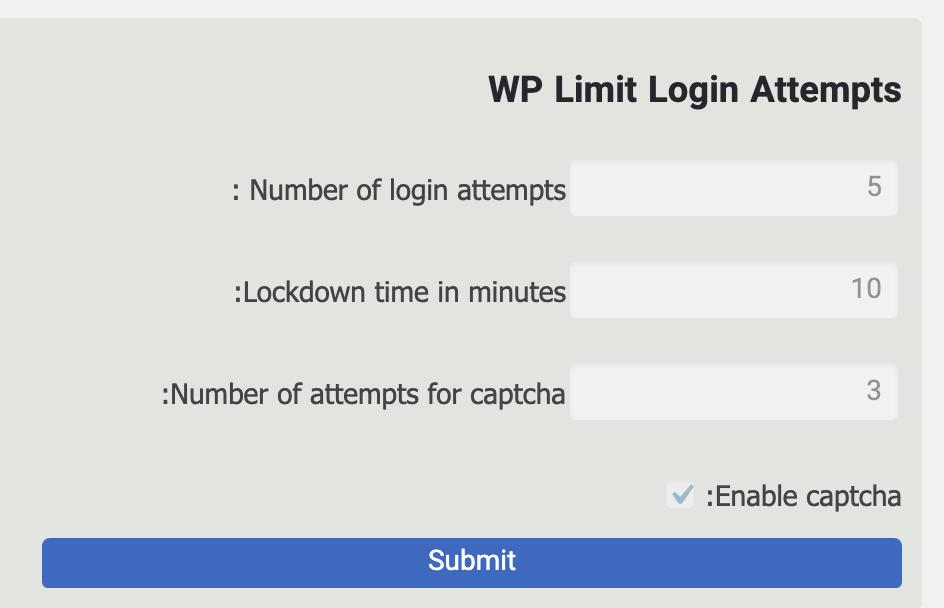 تنظیمات افزونه WP Limit Login Attempts