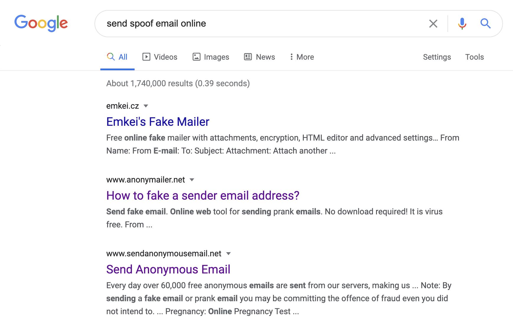سرویسهای ارسال ایمیل جعلی